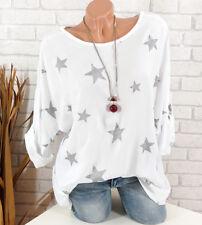 Tunika Bluse Damen Italy Glitzer Sterne Pailletten oversize weiß silber 42 44 46