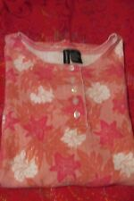 Jason Maxwell Woman's Short Sleeve Top,Sz 1X, Scoop-neck w/5-buttons, Floral