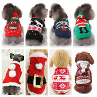 Christmas Pet Vest Dog Puppy Hoodie Sweater Top Winter Warm Clothes Costume Xmas