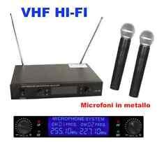 DOPPIO RADIOMICROFONO PROFESSIONALE VHF MICROFONI WIRELESS (coppia + centralina)