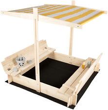 Sandkasten mit Dach Deckel Holz Abdeckung Sitzbänken Boden Sandkiste gelb Bänken