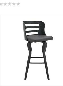 """Ethan Allen.  -   Verne 30"""" Swivel Gray Faux Leather and Black Wood Bar Stool"""