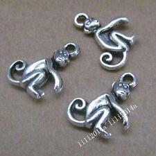 20pc Tibetan Silver Charms Beads Monkey Animal Pendant Jewellery Making PL448