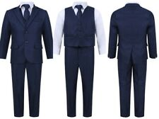 BOYS FIVE PIECES WEDDING PARTY PROM NAVY BLUE SUIT 1-15 YEARS