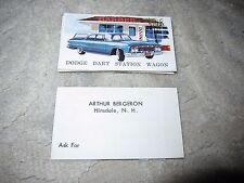 Vtg Arthur Bergeron car dealership business cards, blue 62 Dodge Dart st wagon