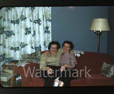 1960s amateur Kodachrome  Photo slide  living room two ladies on sofa