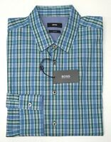 NWT $145 Hugo Boss Blue Green Plaid Shirt LS Mens Size XL Ronny_32 Slim Fit NEW