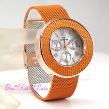 Designer Chainmail Mesh Stainless Steel Burnt Orange Sport Chronograph luk Watch