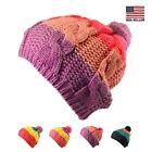 Unisex Mens Womens Kids Warm Winter Ski Stripe Pompom Knit Beanie Beret Cap Hat