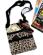 Crossbody Messenger Tote Bag LEOPARD print with Black Trim