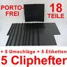 5 Cliphefter Bewerbungsmappen + 5 Umschläge + Eti - SCHWARZ - Set für Bewerbung