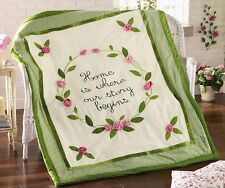 3D Rose Bouquet Embroidered Decorative Green Throw Country Floral Leaves Decor
