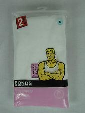 Bonds Girls Kids Chesty Bond Cotton Singlets 2 pack sizes 10 12 14 Colour White