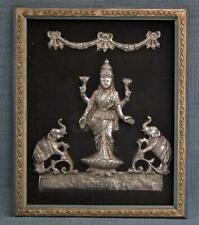 Antique Indian Silver Relief Depiction Hindu Deity Lakshmi Devi India