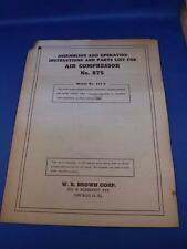 Assembling And Operating Instructions & Parts List Air Compressor W.R. Brown