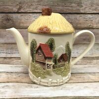 VTG 70s Marks and Rosenfeld TEAPOT Thatched Roof Cottage Ware Picket Fence EXC