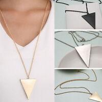 3 Colors Triangle Pendant Long Necklaces for Men Women