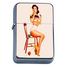 Windproof Refillable Fliptop Oil Lighter Classic Vintage Model Pin Up Girl D-075