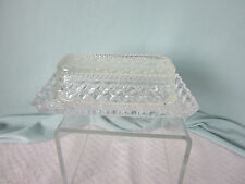 Glass Butter Dish Margarine Holder with LId Clear Crystal Crosstich Pattern EPOC