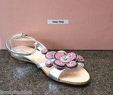 NIB MIU MIU Silver Pink T-Strap Sequin Jewel Flower Flat Sandals Shoes 39.5