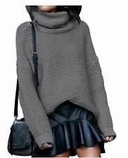 Pullover Sweater Small Cowl Neck Turtleneck Open Knit Heather Gray Top Dolman