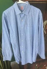 BROOKS BROTHERS BLUE STRIPED ALL COTTON BROADCLOTH SHIRT 16.5-4 EUC