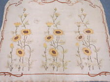 Vtg 1910 Arts & Crafts Embroidered Heavy Linen Wall Hanging Out of Frame Flowers