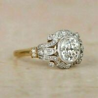 2 Tone 2.30Ct Round Diamond Vintage Bezel Engagement Ring 925 Sterling Silver
