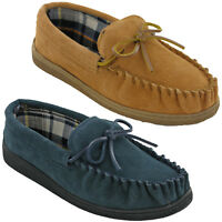 Mens Leather Moccasin Slippers Soft Lined Cushion Walk Winter Indoor Outdoor