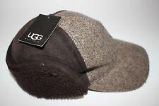 NWT UGG S/M Men's Shearling Brown Dyed Leather Wool Tweed KILLIAN Baseball Cap