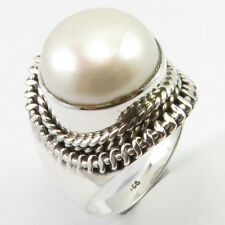 7.5 925 Sterling Silver Women Jewelry White Pearl June Birthstone Ring Size