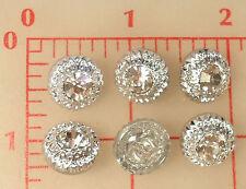 "12 vintage Czech glass shank buttons silver finish rhinestone center 1/2"" #468"