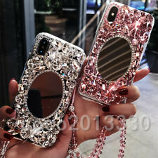 Handmade Luxury Sparkle mirror Bling Diamond Rhinestone Soft Phone Case & strap