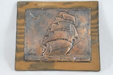 Vintage Antique Hammered Copper Mounted Picture Clipper Ship Sail Boat Nautical