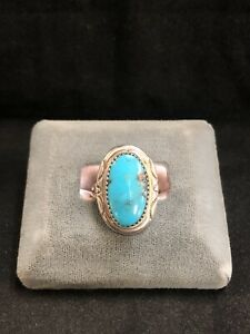 Vintage Sterling Silver and Turquoise Ring*Signed*