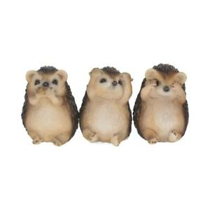 Three Wise Hedgehogs See Hear Speak No Evil 8.5cm Cute Figurines Hand Paint