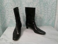 Women's Cole Haan Black Mid Calf High Leather Side Zip Boots Size 7 B
