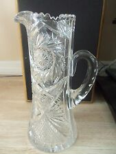 ANTIQUE ABP BRILLIANT CUT GLASS HOBSTAR TALL CHAMPAGNE ,  WINE ORNATE PITCHER