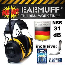 EARMUFF 31dB Digital AM FM MP3 Radio HEADPHONES Hearing PROTECTION Ear Muffs