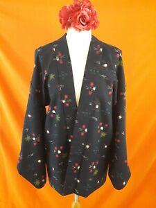 Vintage Original Japanese Kimono Haori Jacket Navy Blue Cotton