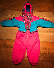 VTG 90's Weestuff Girls Snow Ski Suit Toddler  Kids 3T Bright Pink Blue Hooded