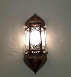 applique murale Marocaine verres dépolis p3 fer forgé lampe lustre lanterne