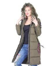 Doudoune Taille UK 14 Femme Long à Capuche Vert Olive Manteau BNWT #C-61