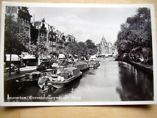 OLD REAL PHOTO-PC: AMSTERDAM~KLOVENIERSBURGWAL MET WAAG~ANIMATED~SHIPS