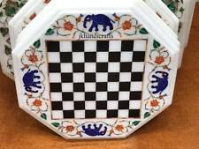 "12"" Marble Side Coffee Table Top Chess Board Inlaid Handmade Garden Decor"