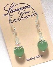 LUNASEA TREASURES GREEN AVENTURINE GEMSTONE 10mm SPHERE STERLING SILVER EARRINGS