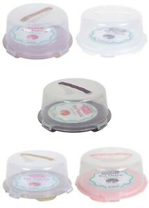 Plastic Cake Carrier. Clear Round Box Lockable Lid Cover. Soft Handle. 30 cm.