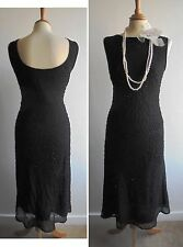 Vintage 90s Black Beaded Dress 20s Flapper Downton Abbey Inspired fits Size 14