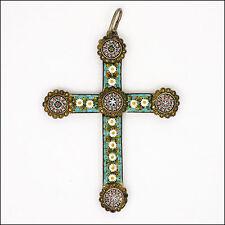 Victorian italien micro-mosaique pendentif croix en argent 800
