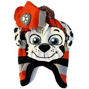 Paw Patrol Marshall Winter Hat & Mittens Set Red Firefighter Dog Toddler Boy NEW